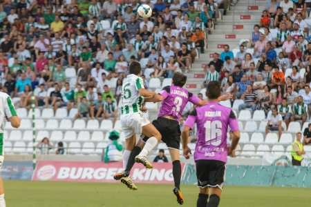 CORDOBA, SPAIN - AUGUST 18:  Pedro Antonio Sanchez W(15) in action during match league Cordoba (W) vs Ponferradina (B)(1-0) at the Municipal Stadium of the Archangel on august 18, 2013 in Cordoba Spain