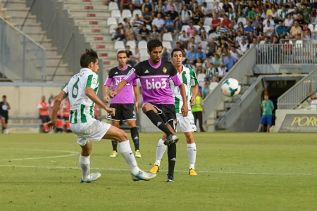 CORDOBA, SPAIN - AUGUST 18:  Luis Eduardo  W(6) in action during match league Cordoba (W) vs Ponferradina (B)(1-0) at the Municipal Stadium of the Archangel on august 18, 2013 in Cordoba Spain
