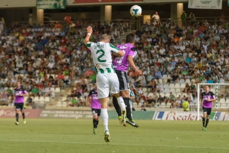 CORDOBA, SPAIN - AUGUST 18:  Jens Janse W(2) in action during match league Cordoba (W) vs Ponferradina (B)(1-0) at the Municipal Stadium of the Archangel on august 18, 2013 in Cordoba Spain