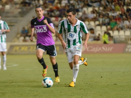 CORDOBA, SPAIN - AUGUST 18:  Carlos Caballero W(21) in action during match league Cordoba (W) vs Ponferradina (B)(1-0) at the Municipal Stadium of the Archangel on august 18, 2013 in Cordoba Spain