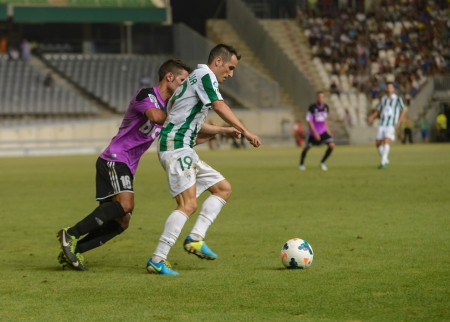CORDOBA, SPAIN - AUGUST 18:  L�pez Silva W(19) in action during match league Cordoba (W) vs Ponferradina (B)(1-0) at the Municipal Stadium of the Archangel on august 18, 2013 in Cordoba Spain