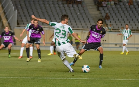 CORDOBA, SPAIN - AUGUST 18:  Abel  Gómez W(23) in action during match league Cordoba (W) vs Ponferradina (B)(1-0) at the Municipal Stadium of the Archangel on august 18, 2013 in Cordoba Spain