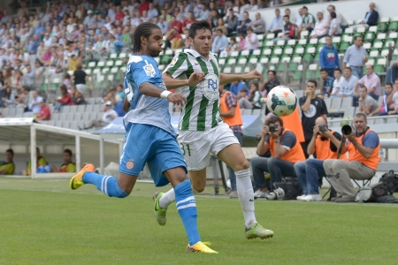 CORDOBA, SPAIN - SEPTEMBER 29:  Abel  G�mez W(23) in action during match league Cordoba (W) vs Girona (B)(2-0) at the Municipal Stadium of the Archangel on September 29, 2013 in Cordoba Spain