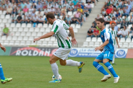 CORDOBA, SPAIN - SEPTEMBER 29: Xisco W(9) in action during match league Cordoba (W) vs Girona (B)(2-0) at the Municipal Stadium of the Archangel on September 29, 2013 in Cordoba Spain Editorial