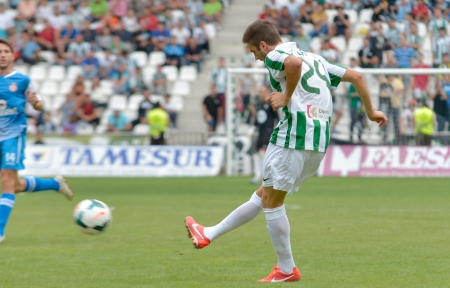 CORDOBA, SPAIN - SEPTEMBER 29:  Pelayo Novo W(24) in action during match league Cordoba (W) vs Girona (B)(2-0) at the Municipal Stadium of the Archangel on September 29, 2013 in Cordoba Spain