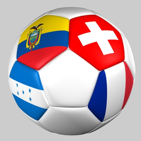 Ball with flags of the teams in Group E World Cup 2014