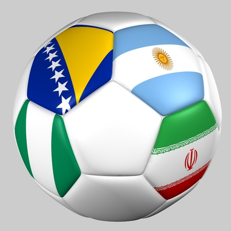 Ball with flags of the teams in Group F