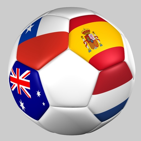 Ball with flags of the teams in Group B  Stock Photo