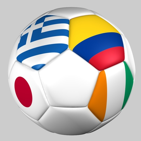 Ball with flags of the teams in Group C