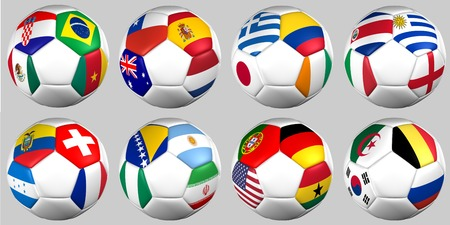 Set Ball with flags of the teams a groups photo