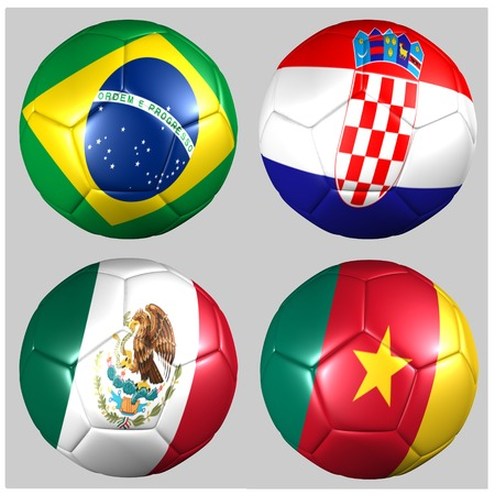 Ball with flags of the teams in Group A