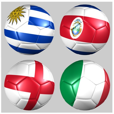 Ball with flags of the teams in Group D
