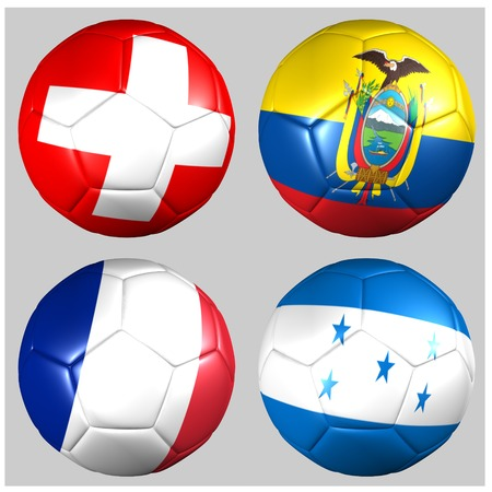Ball with flags of the teams in Group E