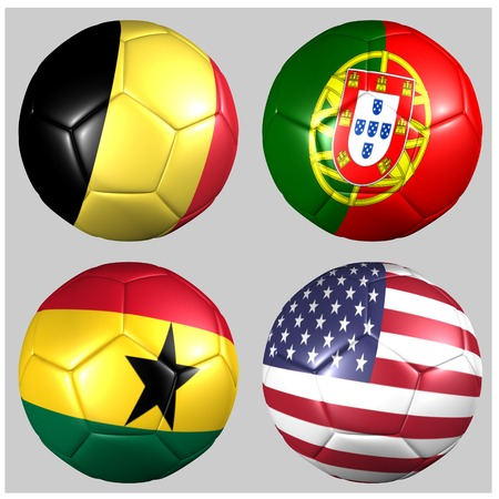 Ball with flags of the teams in Group G Stock Photo