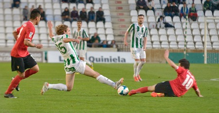 CORDOBA, SPAIN - MARCH 29:  Mendigutxia W(35) in action during match league  Cordoba (W) vs Murcia (R)(1-1) at the Municipal Stadium of the Archangel on March 29, 2014