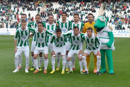CORDOBA, SPAIN - MARCH 29:  Initial alignment C�rdoba CF during match league Cordoba (W) vs Murcia (R)(1-1) at the Municipal Stadium of the Archangel on March 29, 2014