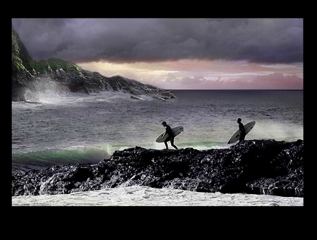 stormy sea: Going Surfing today Stock Photo
