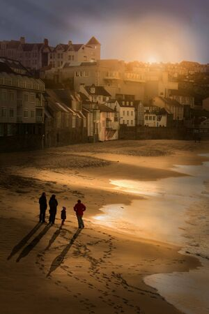 Sunset over the Tates view St Ives