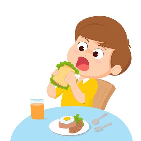 eating lunch: Cartoon Kid eating. Illustration