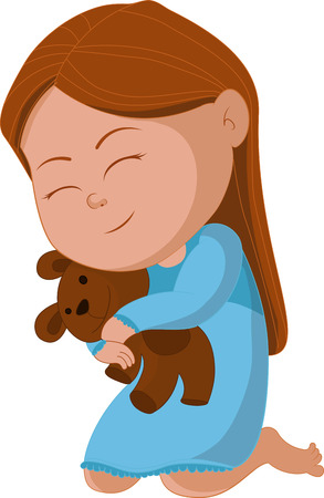 luna caricatura: Abrazo de oso chica y decir buenas noches. ilustraci�n Vectores
