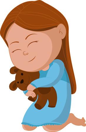 cute animal cartoon: girl hug bear and saying good night. illustration Illustration