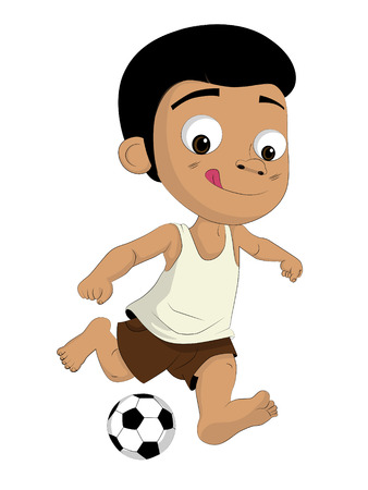 poor: Kids kicking football.He is as poor But he loves to play football.clip art illustration