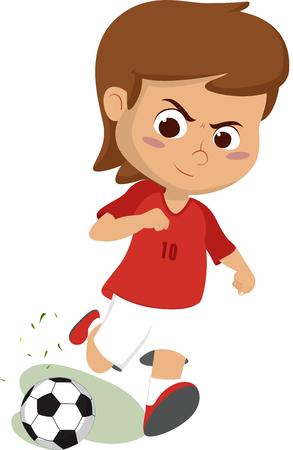 Kind eine Kugel tritt. Vektorgrafik