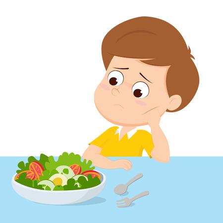 niños desayunando: niño triste con su desayuno.