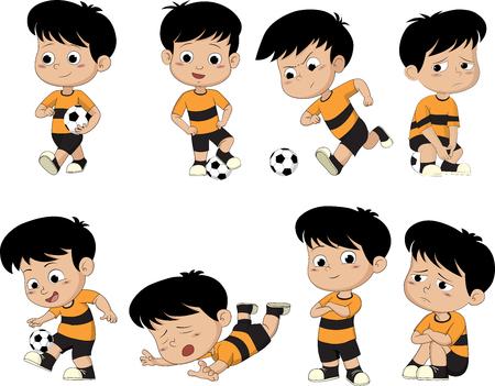 Cartoon ragazzo calcio con diverse pose.