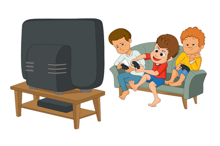 video gaming: kids playing video games together too close to tv screen. Gaming addiction concept. Illustration