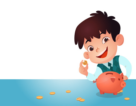 kid saving money and illustration.