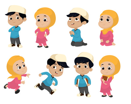 holy book: Set of kid muslim people doing activities Illustration