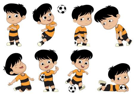 Cartoon voetbal jongen met verschillende pose. Stockfoto - 61107973