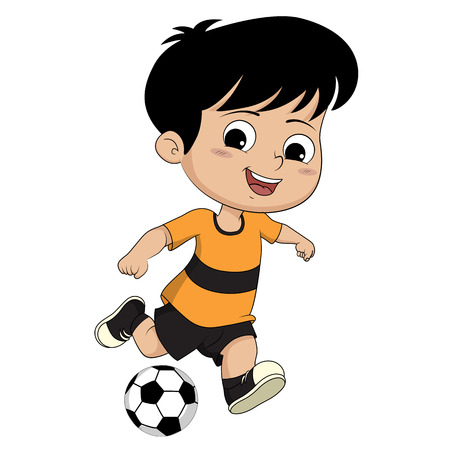 Kids kicking football.He is as poor But he loves to play football.and illustration.