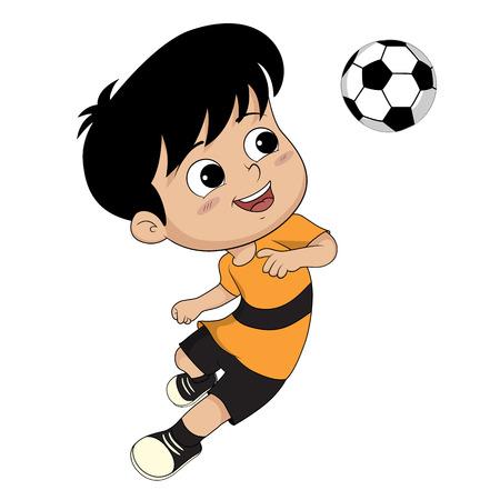 headed: kid headed the ball for victory.clip art illustration
