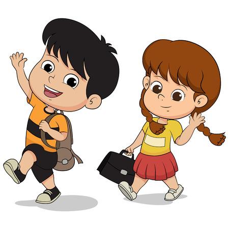 schoolkid: welcome back to school.kid walking to school. Illustration