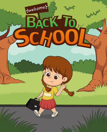 welcome back to school.kid walking to school. Illustration
