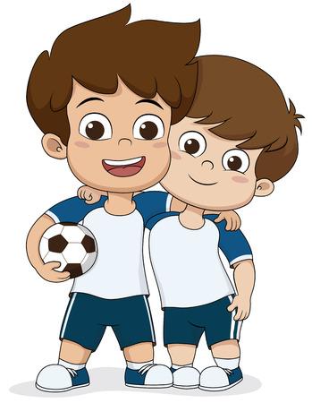 만화 축구 kids.Tho 친절한 kid.Vector 및 그림입니다. 스톡 콘텐츠 - 63441025
