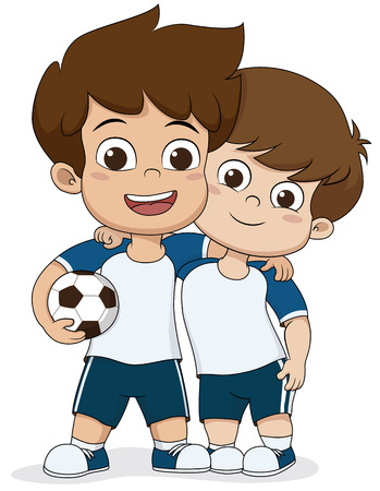 Cartoon soccer kids.Two friendly kid.Vector and illustration.
