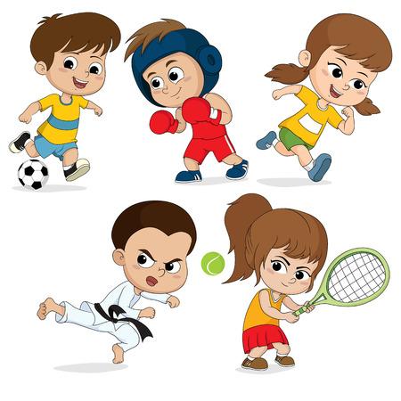 Set of kidsports.Children football, taekwondo,boxing, running,tennis.vector and illustration. Ilustracja