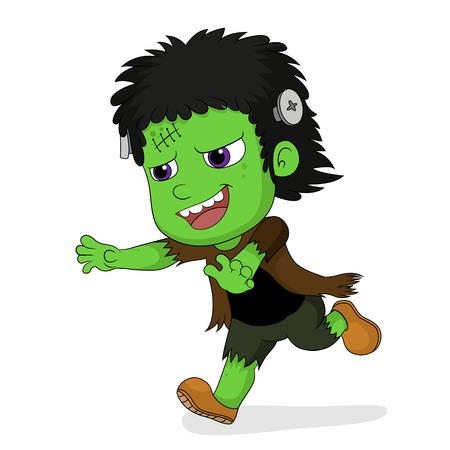 Happy Halloween.Cute frankenstein in halloween.vector and illustration.