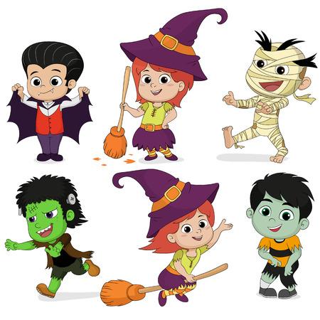 Glückliche Halloween.Cute Dracula Kinder In Halloween.vector Und ...
