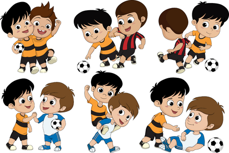 Set of Cute kid played football with friends.vector and illustration.