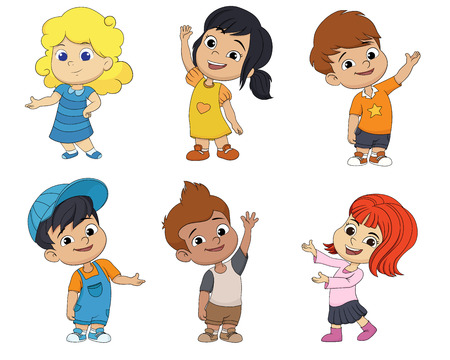 Set of cute cartoon kids.vector and illustration.