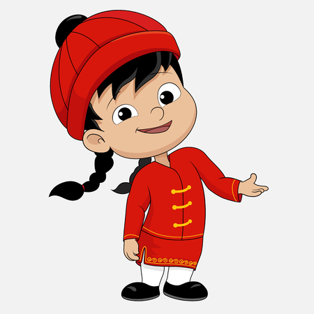 chinese new year card: Cartoon chinese kid.vector and illustration.
