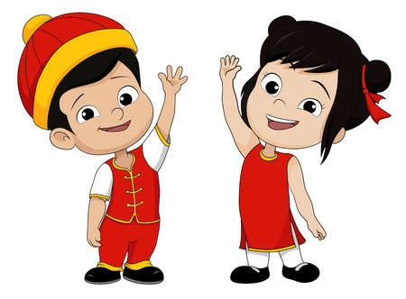 Set of Cartoon chinese children,Happy chinese new year.Vector and illustration 向量圖像