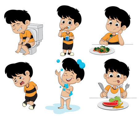 set of daily activities routines,kid  taking a bath, Funny little boy brushing teeth, sitting on toilet, breakfast illustration.