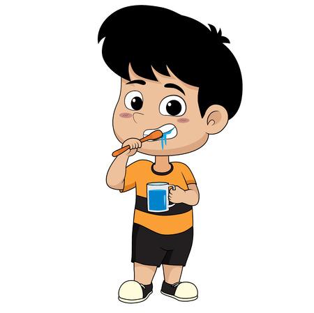 kid brushing teeth illustration.