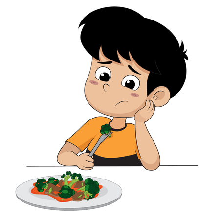 kid sad with his broccoli illustration