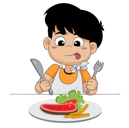 kid happy with steak.vector and illustration